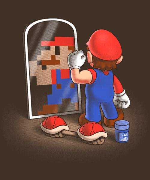 Videjuegos-Camiseta-Mario-Bros-en-el-espejo