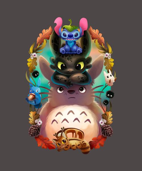 Cine-Camiseta-Totoro-y-sus-amigos