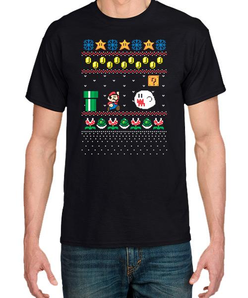 Videojuegos-Camiseta-La-navidad-de-Mario-Bros