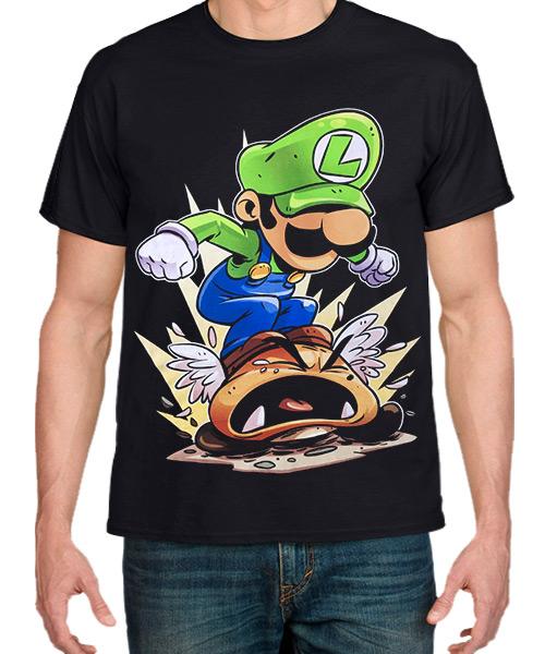 Videojuegos-Camiseta-Luigi-y-Goomba