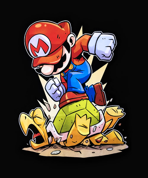 Videojuegos-Camiseta-Mario-Bros-y-Koopa-Troopa