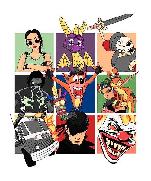 Camiseta Playstation Personajes Clasicos Videojuegos